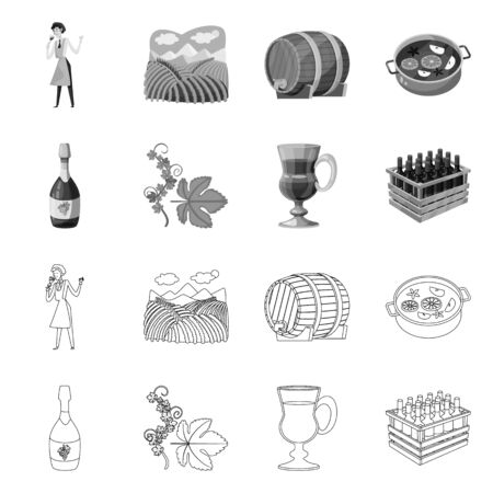 Isolated object of farm and vineyard symbol. Collection of farm and product stock symbol for web.