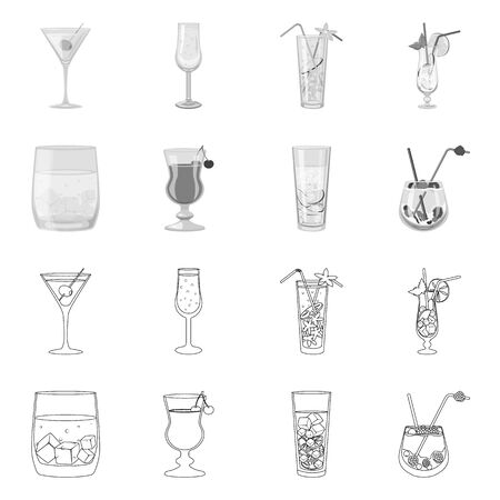 Vector design of liquor and restaurant symbol. Collection of liquor and ingredient stock vector illustration. Stok Fotoğraf - 129875508