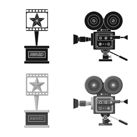 Isolated object of television and filming. Set of television and viewing vector icon for stock.