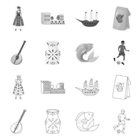 Isolated object of and historic symbol. Collection of and country stock vector illustration.