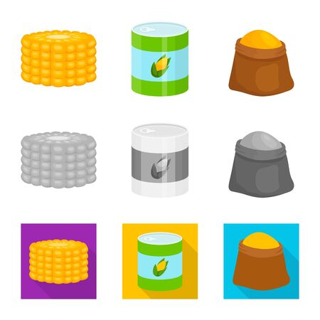 Vector design of cornfield and vegetable icon. Set of cornfield and vegetarian stock vector illustration. Çizim