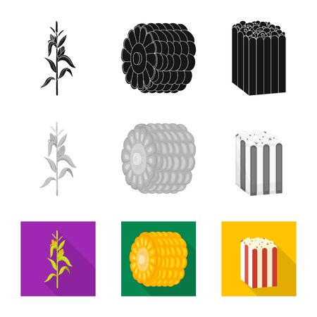Vector illustration of cornfield and vegetable sign. Collection of cornfield and vegetarian vector icon for stock. Çizim
