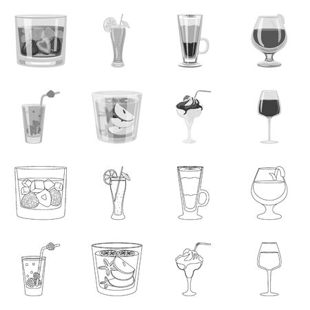Vector design of liquor and restaurant sign. Set of liquor and ingredient vector icon for stock. Иллюстрация