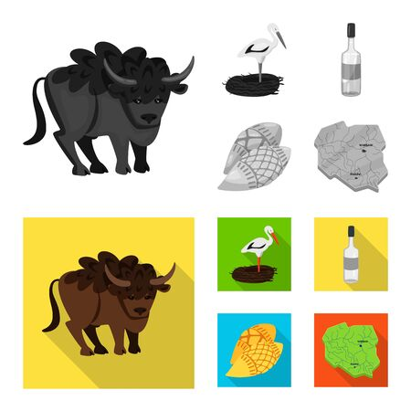 Vector design of traditional and tour icon. Collection of traditional and landmarks vector icon for stock.