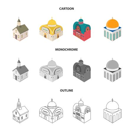 Vector design of temple and historic symbol. Collection of temple and faith stock symbol for web. Stock Illustratie