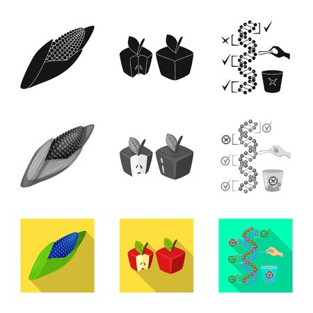 Vector illustration of test and synthetic icon. Set of test and laboratory stock symbol for web.