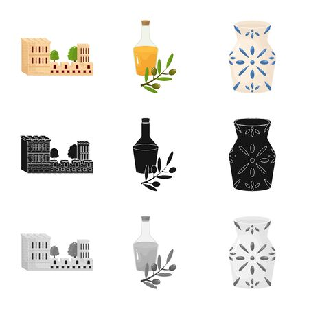 Vector design of and historic symbol. Collection of and country stock vector illustration.