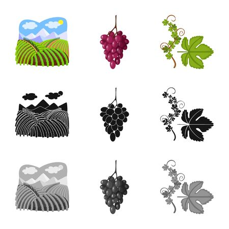 Vector illustration of farm and vineyard sign. Collection of farm and product stock symbol for web.  イラスト・ベクター素材