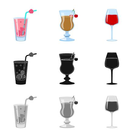 Vector design of liquor and restaurant. Collection of liquor and ingredient stock symbol for web. Çizim