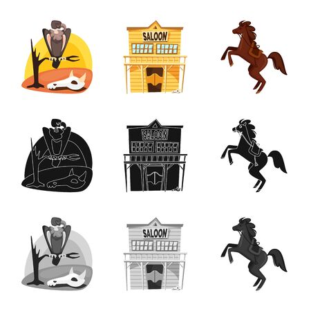 Isolated object of texas and history icon. Collection of texas and culture stock vector illustration.