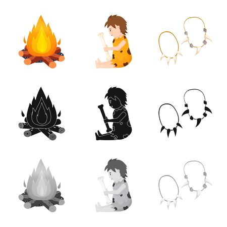 Isolated object of evolution and neolithic. Collection of evolution and primeval vector icon for stock.
