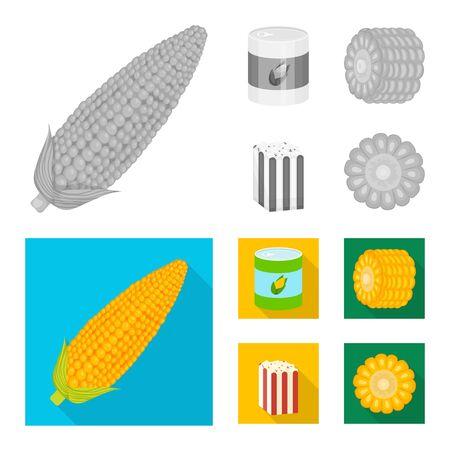 Vector illustration of cornfield and vegetable symbol. Set of cornfield and vegetarian stock vector illustration.