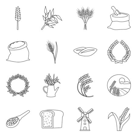 Vector illustration of grain and harvest symbol. Set of grain and field vector icon for stock. Çizim