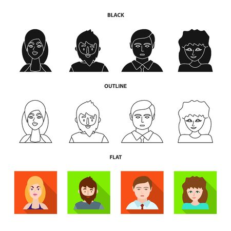 Vector illustration of avatar and person icon. Collection of avatar and profession stock symbol for web.