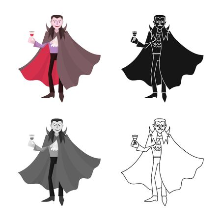 Vector design of dracula and vampire. Set of dracula and costume stock symbol for web. 向量圖像