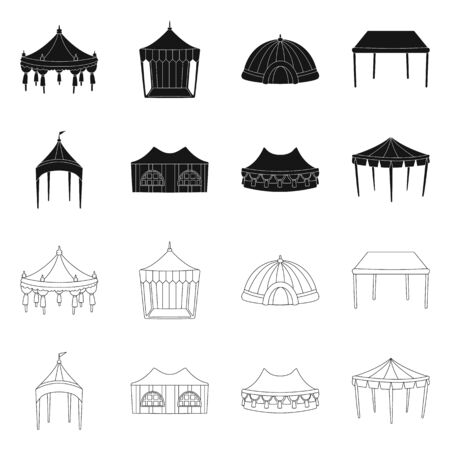 Vector design of roof and folding symbol. Set of roof and architecture stock symbol for web.