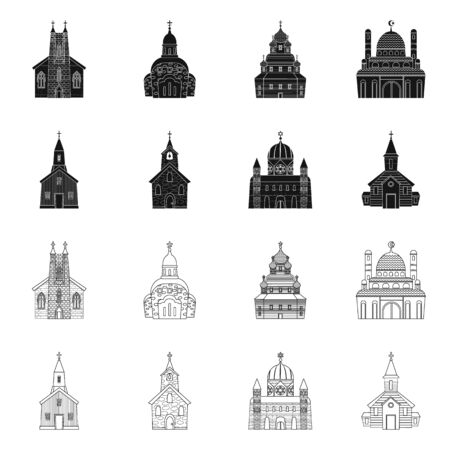 Isolated object of cult and temple. Set of cult and parish stock vector illustration. 일러스트