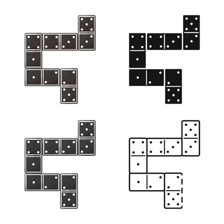 Vector design of game and domino symbol. Set of game and block vector icon for stock.
