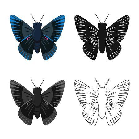 Vector illustration of butterfly and blue symbol. Collection of butterfly and species stock vector illustration. Иллюстрация