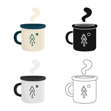 Vector illustration of mug and metal. Collection of mug and enamel stock symbol for web. Ilustração