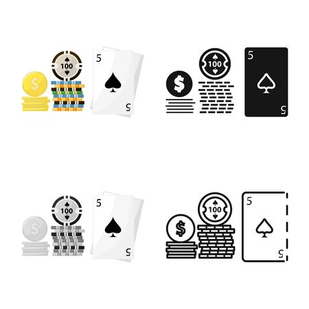 Vector illustration of game and poker sign. Collection of game and joker stock vector illustration.