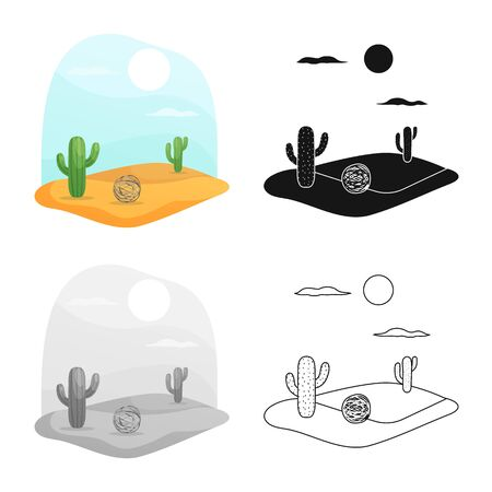 Isolated object of tumbleweed and cactus icon. Set of tumbleweed and west stock vector illustration. 일러스트