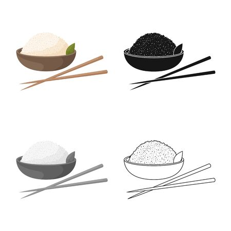 Isolated object of bowl and rice icon. Set of bowl and food vector icon for stock.