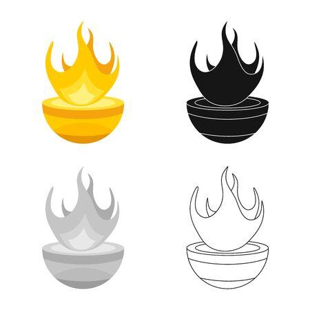 Vector illustration of hearth and hestia symbol. Collection of hearth and goddess stock symbol for web. Vettoriali