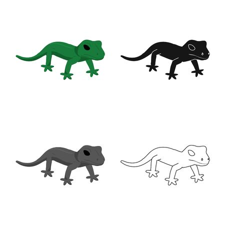 Isolated object of lizard and green icon. Set of lizard and coloring stock symbol for web.