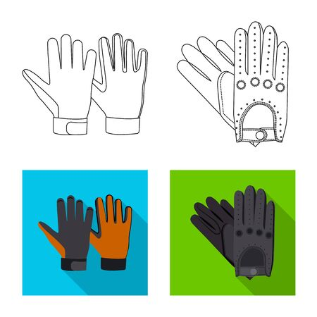 Vector illustration of glove and winter. Collection of glove and equipment stock symbol for web.
