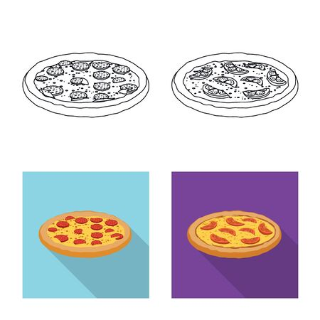 Vector design of pizza and food icon. Collection of pizza and italy stock vector illustration.