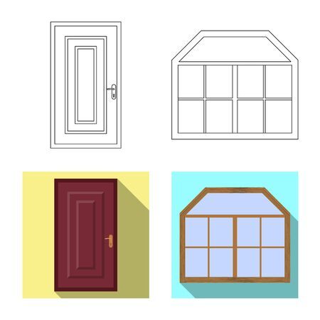 Vector illustration of door and front symbol. Collection of door and wooden stock vector illustration. Ilustração