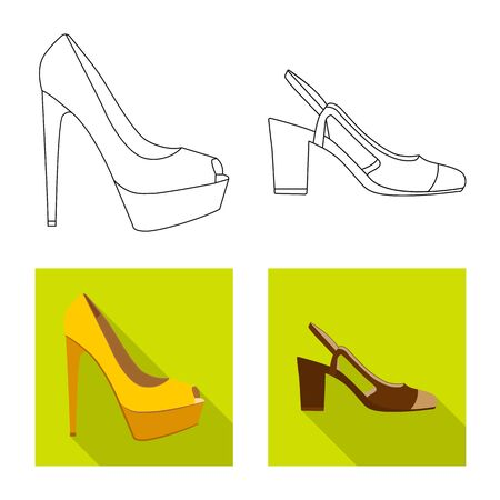 Vector design of footwear and woman icon. Set of footwear and foot vector icon for stock. Ilustração