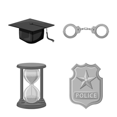 Isolated object of law and lawyer. Set of law and justice stock symbol for web.