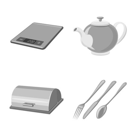 Vector illustration of kitchen and cook icon. Collection of kitchen and appliance vector icon for stock. Çizim