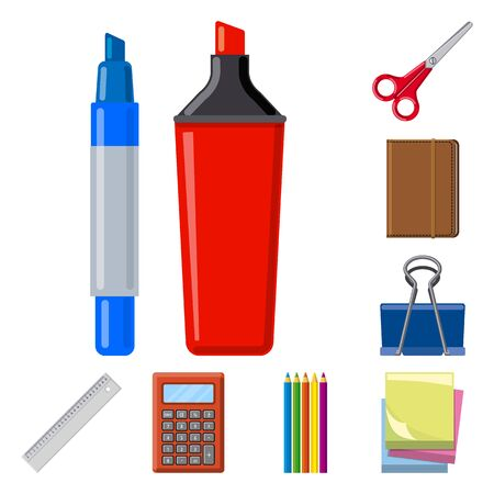Vector design of office and supply. Collection of office and school stock vector illustration.