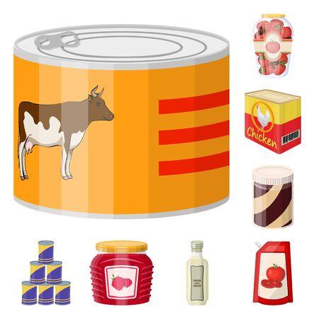 Diseño vectorial de lata y comida. Conjunto de ilustración de vector stock lata y paquete.