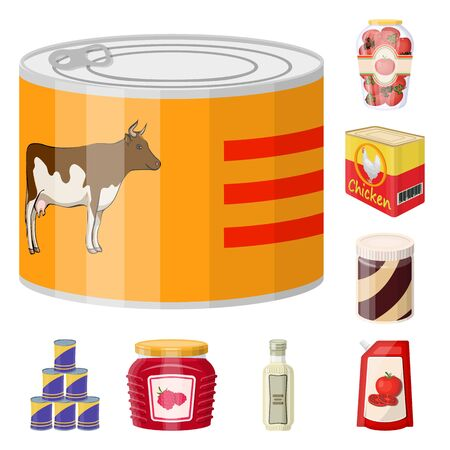 Vektordesign von Dose und Essen. Satz von Dosen- und Paketvorrat-Vektorillustration.