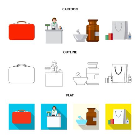 Vector design of pharmacy and hospital. Collection of pharmacy and business vector icon for stock. Çizim