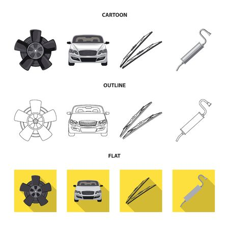 Vector illustration of auto and part. Collection of auto and car stock vector illustration.