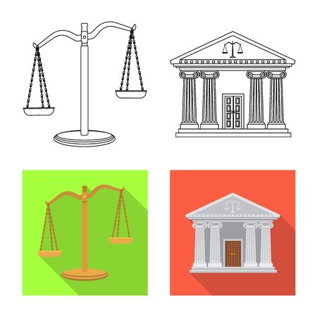 Vector design of law and lawyer symbol. Set of law and justice stock vector illustration.