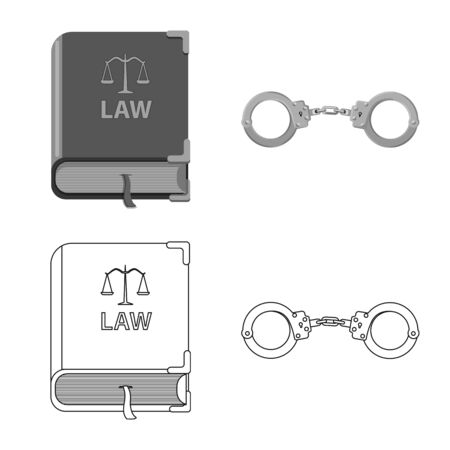 Isolated object of law and lawyer symbol. Set of law and justice vector icon for stock. Standard-Bild - 129846146