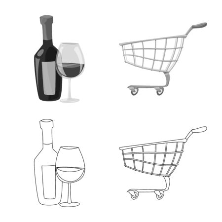 Vector illustration of food and drink. Collection of food and store stock symbol for web.