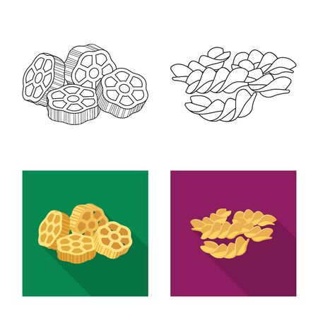 Isolated object of pasta and carbohydrate symbol. Set of pasta and macaroni vector icon for stock.