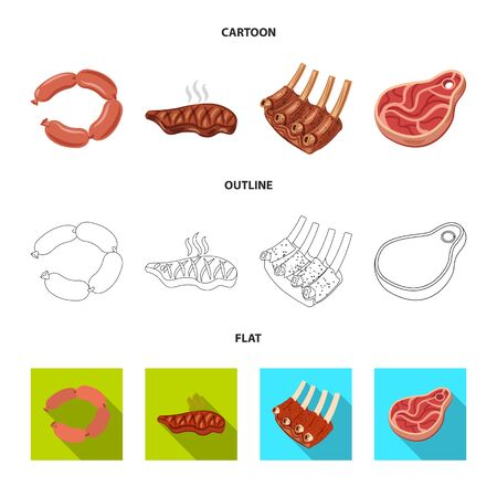Vector design of meat and ham. Collection of meat and cooking stock symbol for web.