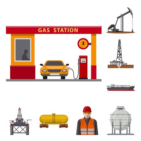 Isolated object of oil and gas. Set of oil and petrol vector icon for stock. Ilustração