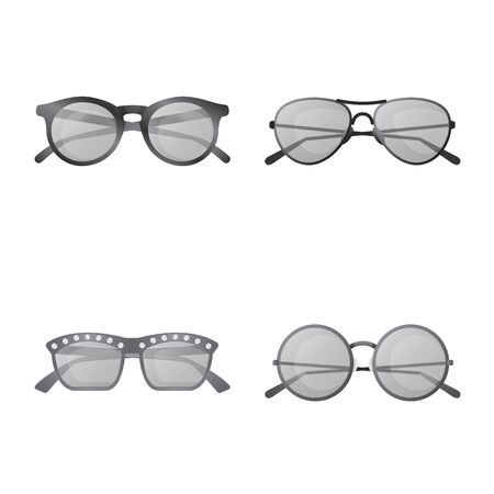 Isolated object of glasses and sunglasses symbol. Set of glasses and accessory stock symbol for web.