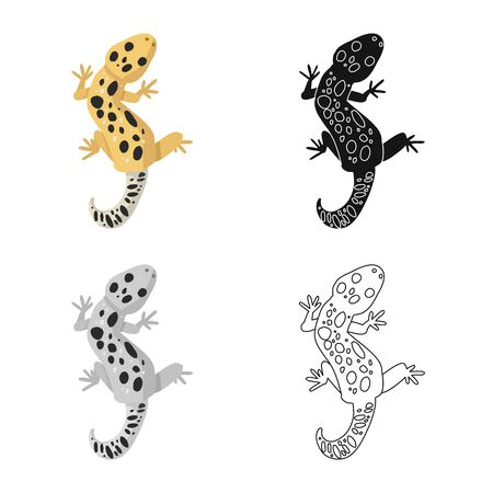 Isolated object of lizard and gecko. Collection of lizard and creature stock vector illustration. Stockfoto - 129875423