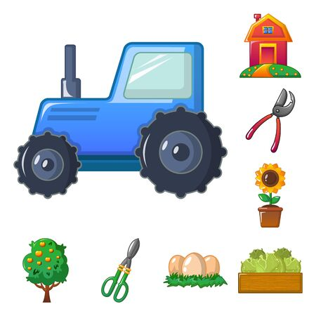 Isolated object of farm and agriculture sign. Collection of farm and plant stock symbol for web. Ilustração Vetorial