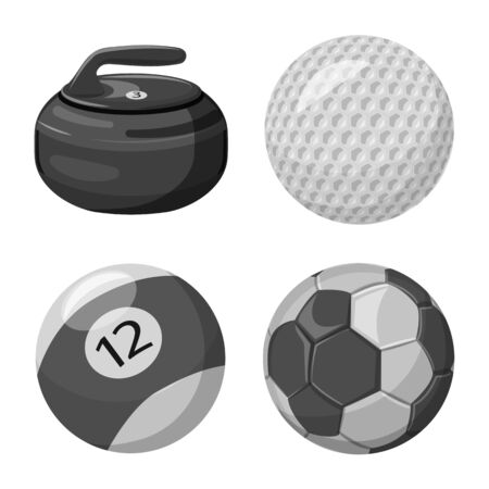 Isolated object of sport and ball. Collection of sport and athletic stock vector illustration.